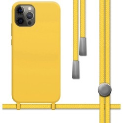 Funda Silicona Líquida con Cordón para Iphone 12 Pro Max (6.7) color Amarilla