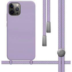 Funda Silicona Líquida con Cordón para Iphone 12 Pro Max (6.7) color Morada