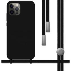Funda Silicona Líquida con Cordón para Iphone 12 Pro Max (6.7) color Negra