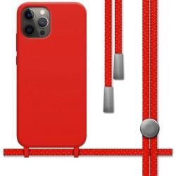 Funda Silicona Líquida con Cordón para Iphone 12 Pro Max (6.7) color Roja