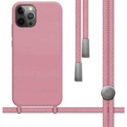 Funda Silicona Líquida con Cordón para Iphone 12 Pro Max (6.7) color Rosa