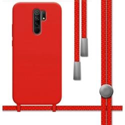 Funda Silicona Líquida con Cordón para Xiaomi Redmi 9 color Roja