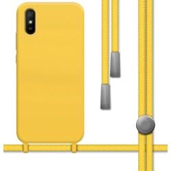 Funda Silicona Líquida con Cordón para Xiaomi Redmi 9A / 9AT color Amarilla