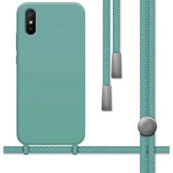Funda Silicona Líquida con Cordón para Xiaomi Redmi 9A / 9AT color Verde