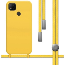 Funda Silicona Líquida con Cordón para Xiaomi Redmi 9C color Amarilla