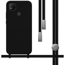 Funda Silicona Líquida con Cordón para Xiaomi Redmi 9C color Negra