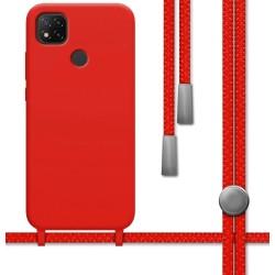 Funda Silicona Líquida con Cordón para Xiaomi Redmi 9C color Roja