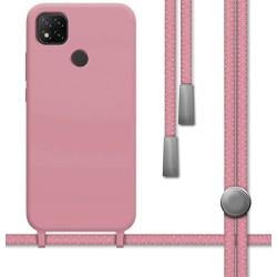 Funda Silicona Líquida con Cordón para Xiaomi Redmi 9C color Rosa