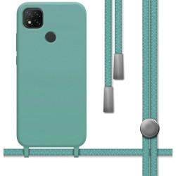 Funda Silicona Líquida con Cordón para Xiaomi Redmi 9C color Verde