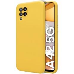 Funda Silicona Líquida Ultra Suave para Samsung Galaxy A42 5G color Amarilla