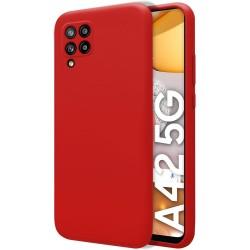 Funda Silicona Líquida Ultra Suave para Samsung Galaxy A42 5G color Roja