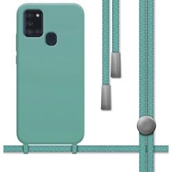 Funda Silicona Líquida con Cordón para Samsung Galaxy A21s color Verde