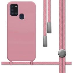 Funda Silicona Líquida con Cordón para Samsung Galaxy A21s color Rosa
