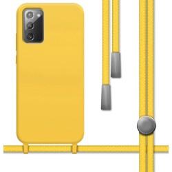 Funda Silicona Líquida con Cordón para Samsung Galaxy Note 20 color Amarilla