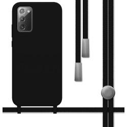 Funda Silicona Líquida con Cordón para Samsung Galaxy Note 20 color Negra