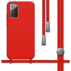 Funda Silicona Líquida con Cordón para Samsung Galaxy Note 20 color Roja
