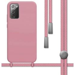 Funda Silicona Líquida con Cordón para Samsung Galaxy Note 20 color Rosa