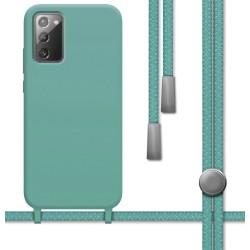 Funda Silicona Líquida con Cordón para Samsung Galaxy Note 20 color Verde