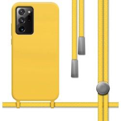 Funda Silicona Líquida con Cordón para Samsung Galaxy Note 20 Ultra color Amarilla