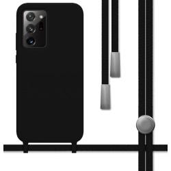 Funda Silicona Líquida con Cordón para Samsung Galaxy Note 20 Ultra color Negra