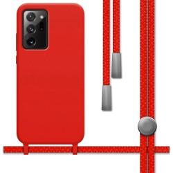 Funda Silicona Líquida con Cordón para Samsung Galaxy Note 20 Ultra color Roja