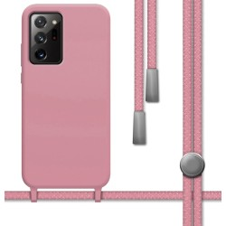 Funda Silicona Líquida con Cordón para Samsung Galaxy Note 20 Ultra color Rosa