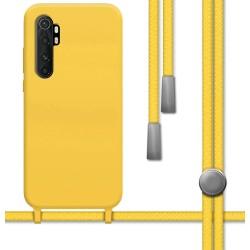 Funda Silicona Líquida con Cordón para Xiaomi Mi Note 10 Lite color Amarilla
