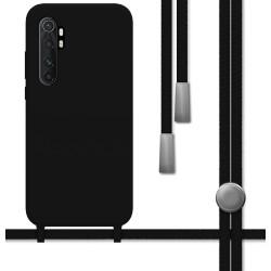 Funda Silicona Líquida con Cordón para Xiaomi Mi Note 10 Lite color Negra