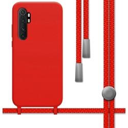 Funda Silicona Líquida con Cordón para Xiaomi Mi Note 10 Lite color Roja