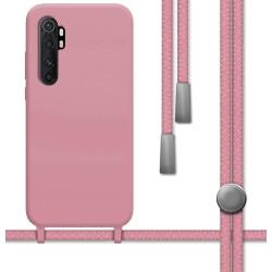 Funda Silicona Líquida con Cordón para Xiaomi Mi Note 10 Lite color Rosa