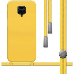 Funda Silicona Líquida con Cordón para Xiaomi Redmi Note 9S / Note 9 Pro color Amarilla
