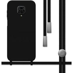 Funda Silicona Líquida con Cordón para Xiaomi Redmi Note 9S / Note 9 Pro color Negra