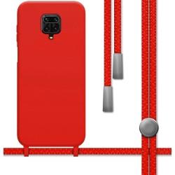 Funda Silicona Líquida con Cordón para Xiaomi Redmi Note 9S / Note 9 Pro color Roja