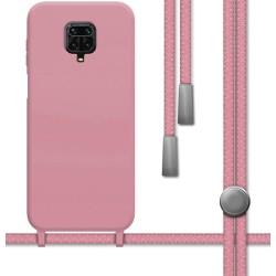 Funda Silicona Líquida con Cordón para Xiaomi Redmi Note 9S / Note 9 Pro color Rosa