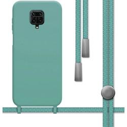 Funda Silicona Líquida con Cordón para Xiaomi Redmi Note 9S / Note 9 Pro color Verde