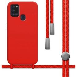 Funda Silicona Líquida con Cordón para Samsung Galaxy A21s color Roja