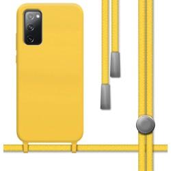 Funda Silicona Líquida con Cordón para Samsung Galaxy S20 FE color Amarilla