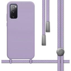 Funda Silicona Líquida con Cordón para Samsung Galaxy S20 FE color Morada