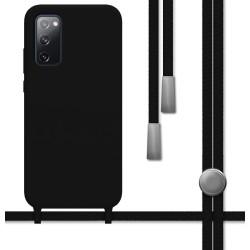 Funda Silicona Líquida con Cordón para Samsung Galaxy S20 FE color Negra