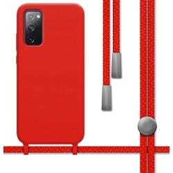 Funda Silicona Líquida con Cordón para Samsung Galaxy S20 FE color Roja