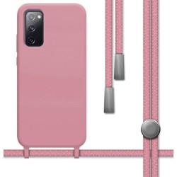 Funda Silicona Líquida con Cordón para Samsung Galaxy S20 FE color Rosa