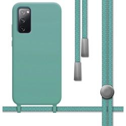 Funda Silicona Líquida con Cordón para Samsung Galaxy S20 FE color Verde