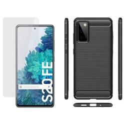 Pack 2 En 1 Funda Gel Tipo Carbono + Protector Cristal Templado para Samsung Galaxy S20 FE