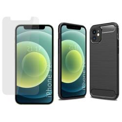 Pack 2 En 1 Funda Gel Tipo Carbono + Protector Cristal Templado para Iphone 12 Mini (5.4)