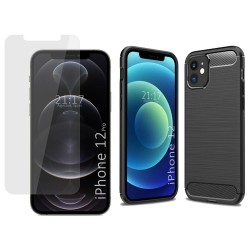 Pack 2 En 1 Funda Gel Tipo Carbono + Protector Cristal Templado para Iphone 12 / 12 Pro (6.1)