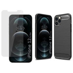 Pack 2 En 1 Funda Gel Tipo Carbono + Protector Cristal Templado para Iphone 12 Pro Max (6.7)