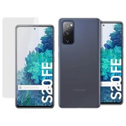 Pack 2 En 1 Funda Gel Transparente + Protector Cristal Templado para Samsung Galaxy S20 FE