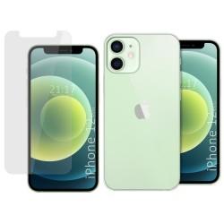 Pack 2 En 1 Funda Gel Transparente + Protector Cristal Templado para Iphone 12 Mini (5.4)