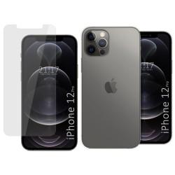Pack 2 En 1 Funda Gel Transparente + Protector Cristal Templado para Iphone 12 / 12 Pro (6.1)