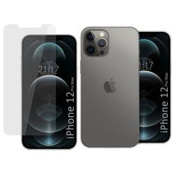 Pack 2 En 1 Funda Gel Transparente + Protector Cristal Templado para Iphone 12 Pro Max (6.7)